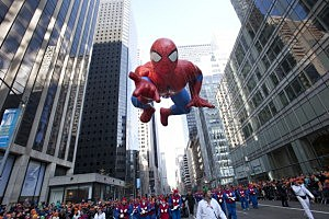 The Spiderman balloon makes its way down Sixth Avenue during the 86th Annual Macy's Thanksgiving Day Parade