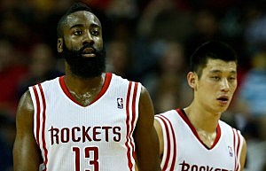 James Harden #13 and Jeremy Lin #7 of the Houston Rockets