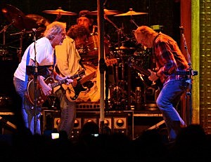 rank Sampedro, Billy Talbot, Ralph Molina and Neil Young of Crazy Horse perform at Madison Square Garden