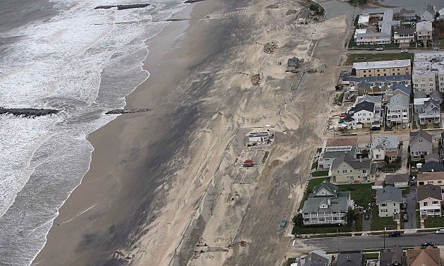 Aerial view of damage to the Jersey Shore from Sandy