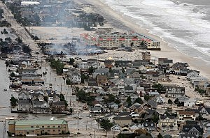 Aerial view of Hurricane Sandy damage along the Jersey Shore