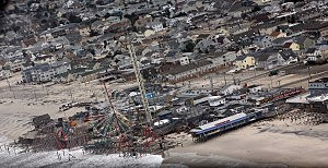Aerial view of damage in Seaside Heights following Sandy