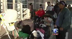 People displaced by the closing of the Atlantic City Convention Center as a hurricane shelter.