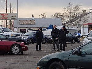Investigators at APK Towing on Friday afternoon