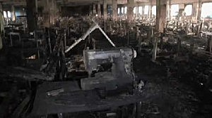 Inside a Bangladesh clothing factory after fire