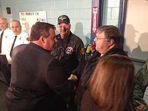Governor Christie talks to first responders in at the Port Monmouth Fire House