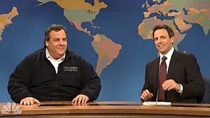 Governor Chris Christie with Weekend Update host Seth Meyers on NBC's Saturday Night Live