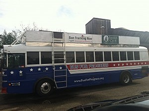 Protesters bus