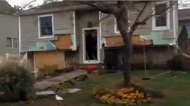A Port Monmouth home damaged by Sandy