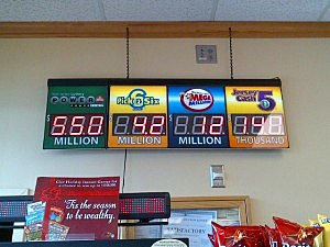 Lottery jackpots displayed at Quick Chek in Lawrenceville