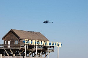 "Nicole ""Snooki"" Polizzi from MTV's Jersey Shore flies over Seaside Heights as part of taping for a Red Cross fundraiser"