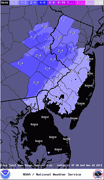National Weather Service snow accumulation map for Tuesday's storm.