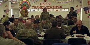 US Troops in Afghanistan enjoy Thanksgiving dinner