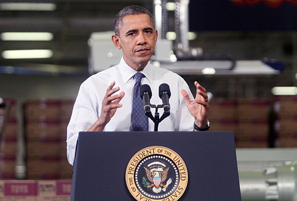 President Barack Obama speaks at The Rodon Group manufacturing facility n Hatfield, Pennsylvania.