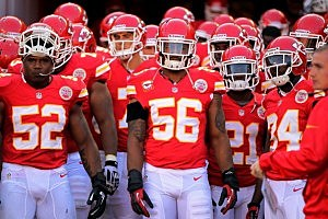 Derrick Johnson #56 of the Kansas City Chiefs wears a black arm band in memory of  Jovan Belcher