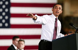 President Barack Obama speaks about the economy at the Daimler Detroit Diesel engine plant  in Redford, Michigan