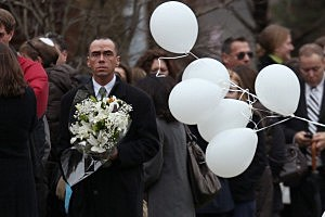 People arrive for the funeral services of six year-old Noah Pozner in Newtown, CT