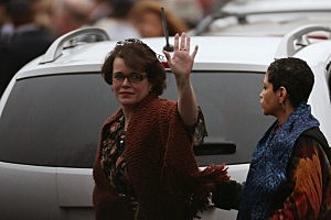 Veronika Pozner (L) waves as she leaves the funeral services of her six year-old son Noah Pozner