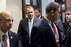 peaker of the House John Boehner (R-OH) (C) leaves a meeting with House Republicans