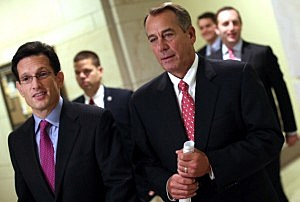 Speaker of the House John Boehner (R-OH) (2nd R) walks to a press conference with House Majority Leader Eric Cantor (R-VA) (L) at the U.S. Capitol