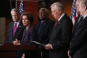 Rep. Steve Israel (D-NY), House Minority Leader Nancy Pelosi (D-CA), Rep. Jim Clyburn (D-SC), House Minority Whip Steny Hoyer (D-MD), Rep. Joseph Crowley (D-NY) and Rep. Chris Van Hollen (D-MD) hold a news conference to discuss fiscal cliff.