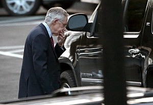 Senate Majority Leader Harry Reid (D-NV) leaves the White House after meeting with President Barack Obama and other Congressional leaders