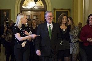 Senate Minority Leader Mitch McConnell (R-KY) leaves the Senate floor