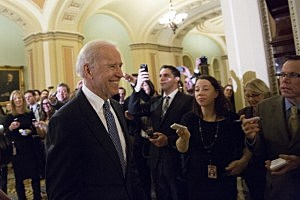 Vice President Joe Biden arrives for a closed-door meeting with Senate Democrats