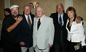 ( L to R)  Actors Dom Delouise, Dick Van Patten, Charles Durning, Jack Klugman and Peggy McGay