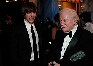 Zac Efron with actor Charles Durning in the audience during the 14th annual Screen Actors Guild awards in 2008