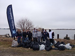 Surfrider South Jersey chapter with volunteers at Gardners Basin in Atlantic City