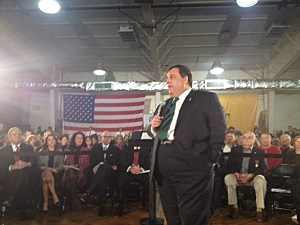 Governor Christie addresses a question at a Town Meeting event in Belmar