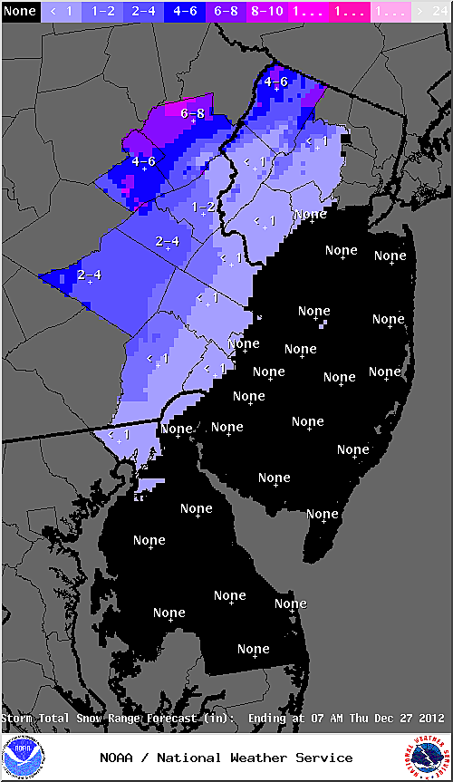 Expected snow accumulation from National Weather Service
