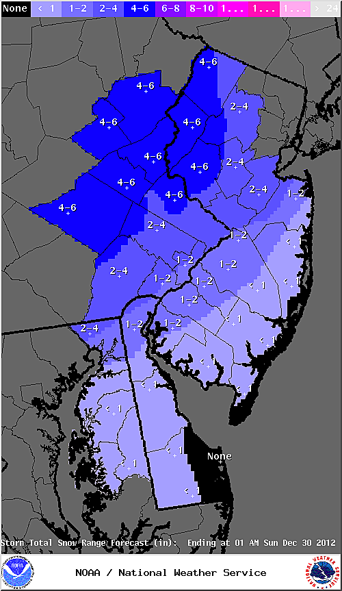 Updated snow accumulations expected by the National Weather Service