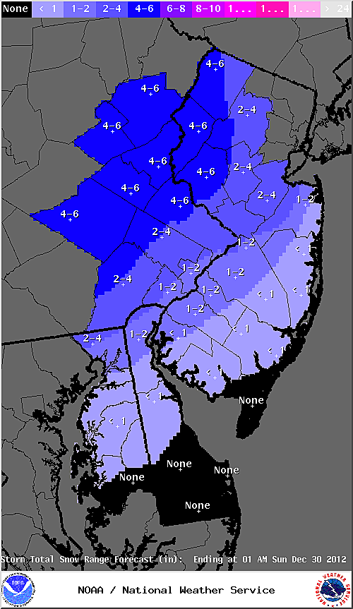 Expected snow totals from Saturday's storm