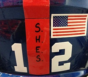 "Giants helmet displaying ""S.H.E.S"" in honor of the victims of the Sandy Hook Elementary School shooting"