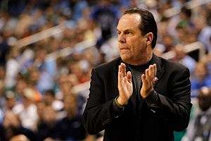 Head coach Mike Brey of the Notre Dame Fighting Irish mens basketball team