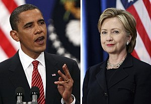 President Barack Obama and his serving Secretary of State Hillary Clinton