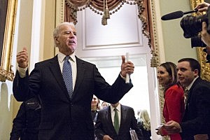 Vice President Joe Biden gives a thumbs up during Senate fiscal cliff agreement meetings