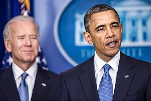 President Barack Obama makes a statement alongside U.S. Vice President Joseph R. Biden (L) in the White House Briefing Room