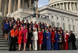 Democratic Leader Nancy Pelosi (D-CA) (C), stands with the Democratic women of the House