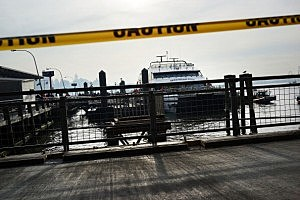 The Seastreak ferry is viewed following an early morning ferry accident during rush hour in Lower Manhattan