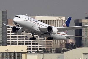 A Boeing 787 Dreamliner operated by United Airlines takes off at Los Angeles International Airport
