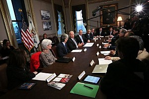 Vice President Joseph Biden (4th L) speaks during a meeting with representatives from the video game industry