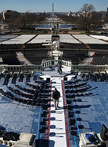 A U.S. Capitol Police officer Jeffery stands guard on the inauguration platform at the U.S. Capitol Building