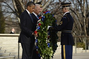 President Barack Obama, Vice President Joe Biden, Major General Michael S. Linnington (back L), Commander of the US Army Military District of Washington and Sergeant First Class Chad E. Stackpole (R) participate in a wreath-laying ceremony at the Tomb of the Unknown Soldier