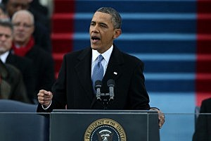 President Barack Obama speaks after being sworn in during the presidential inauguration