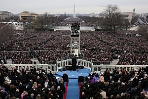 President Barack Obama gives his inauguration address