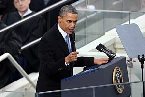 . President Barack Obama gives his inauguration address
