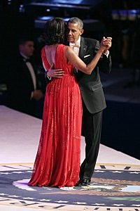 President Barack Obama and first lady Michelle Obama dance during the Commander-In-Chief Ball at the Walter Washington Convention Center